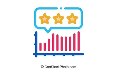 infographic review Icon Animation. color infographic review animated icon on white background