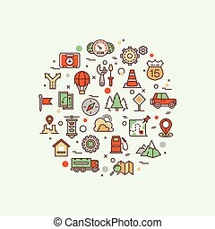 infographic, route, icônes concept, vecteur, trafic, transport, ligne, paysage