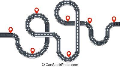 infographic, route, illustration., asphaltez route, auto, map., isolé, carte, vecteur, endroit, rouges, sentier, navigation, voyage, element., pins.