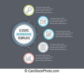 infographic, sagoma, con, cinque, passi