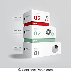 infographic, sagoma, moderno, disegno scatola, minimo,...