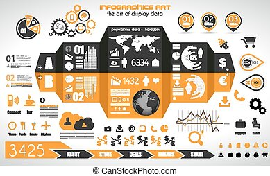 infographic, satz, etikette, -, papier, elemente