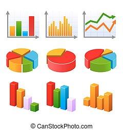infographic, satz, mit, bunte, tabellen, und, diagramm