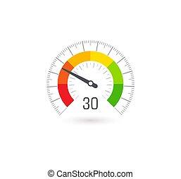 infographic, segments., indicatore, affari, colorito, valutazione, metro, controllo, vettore, icona, qualità, illustration.
