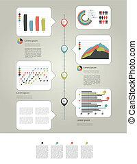 infographic, seite, mit, tabellen, und, te
