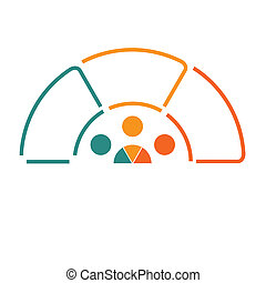 Infographic Semicircle template from colourful lines with...
