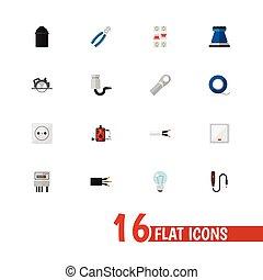 infographic, ser, conjunto, escarapela, móvil, lata, 16, editable, tela, incluye, símbolos, utilizado, ui, icons., tal, alambre eléctrico, more., cable, design.