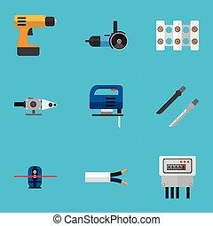 infographic, ser, eléctrico, conjunto, móvil, lata, ui, editable, destornillador, tela, incluye, símbolos, utilizado, eléctrico, icons., 9, tal, more., cable, design.