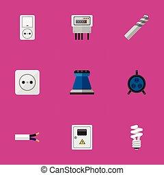 infographic, ser, móvil, conjunto, eléctrico, plano, lata, receptáculo, editable, tela, incluye, símbolos, utilizado, ui, icons., 9, tal, more., panel, cable, design.