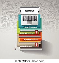 infographic, ser, usado, teia, illustration.success, caderno, concept.can, idea., esquema, vetorial, livros, passo, doodles, linha, bandeira, desenho, design.