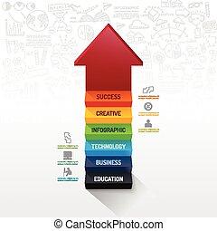 infographic, ser, usado, teia, illustration.success, concept.can, idea., esquema, vetorial, seta, passo, doodles, linha, bandeira, desenho, design.