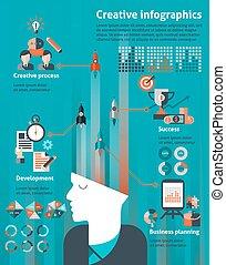 infographic, set, creativo