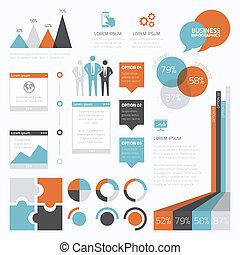 infographic, set, e, retro, zakelijk