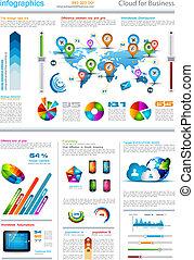 infographic, set, etichette, -, carta, elementi