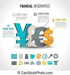 infographic, set, finanziario