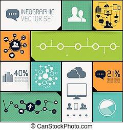 infographic, set, fondo
