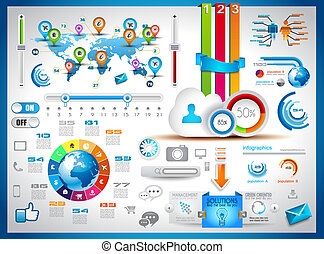 infographic, set, markeringen, -, papier, communie