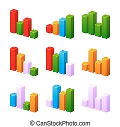 infographic, set, met, kleurrijke, charts.