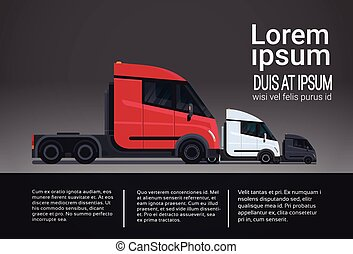 Infographic Set Of Cargo Truck Trailer Vehicle Template...