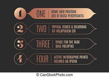 infographic, set, tekst, banieren, pijl, ouderwetse , ontwerp, getallen