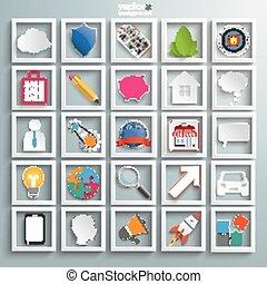infographic, set, zakenonderdelen, iconen