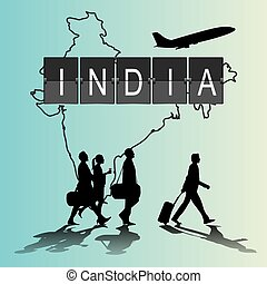Infographic silhouette people in the airport for india flight