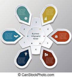 infographic, six, points, arrangé, dans, cercle, engrenage