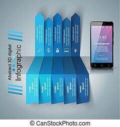 infographic., smartphone, icon., 3d