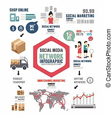 Infographic Social Business template design . concept vector illustration