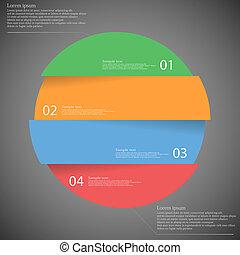 infographic, sombre, divisé, quatre, parties, gabarit, ...