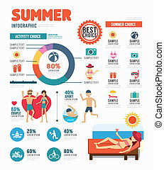 infographic, sommer, begriff, abbildung, vektor, design, schablone