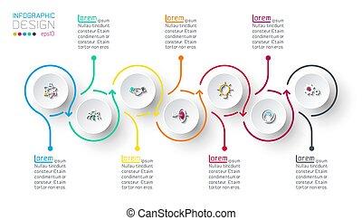 infographic, steps., círculo, etiqueta, paso