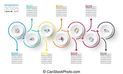 infographic, steps., cercle, étiquette, étape