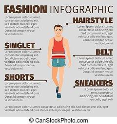infographic, stil, mode, sport, mann