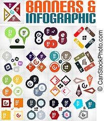 infographic, stor, bannere, sæt, baggrunde