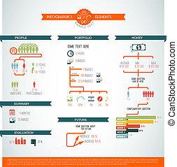 infographic, stor, vektor, sæt, element