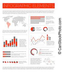infographic, stor, vektor, sæt, elementer