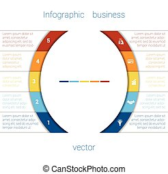 Infographic Strips and semicircle 5 - Vector Template...