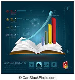 infographic, styl, handlowy, książka, nauka, otwarty