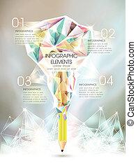 infographic, stylo, créatif, gabarit, glacé