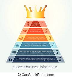 Infographic success business modern template for 6 steps.