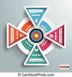 infographic, színezett, 4, háromszögek, céltábla