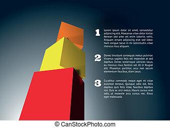 infographic, sześcian, piramida, 3d