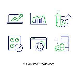 infographic, tandwiel, tablet, iconen, drugs, medisch, omzet, grafiek, laboratorium, diagram, vector, seo, chemie, set., signs.