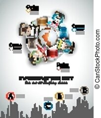 Infographic teamwork and brainstorming with Flat style. A...