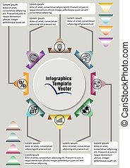 Infographic template abstract with icons and copy space, gray design with colorful elements