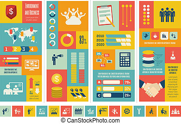 infographic, template., affär