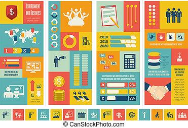 infographic, template., affari