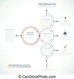 Infographic template, circle design with arrows sign