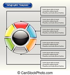 Infographic Template - Circle Inside Square Buttons With Text